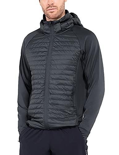 BALEAF Men's Lightweight Warm Puffer Jacket Winter Down Jacket Thermal Hybrid Hiking Coat Water Resistant Packable Dark Grey XXL