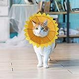 SLSON Halskrausen für Hunde Katze,Bequem Weich Recovery Schutz für Haustier Nackenschutz Kissen und Verstellbarer Kragen mit Gelbem Sonnenblumenmuster (M)