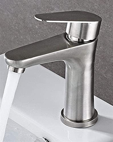 FCWMD Grifo de Acero Inoxidable, Lavabo frío Individual Elevado, Lavabo de baño, Grifo de Lavabo frío y Caliente, Plata 16x10 cm