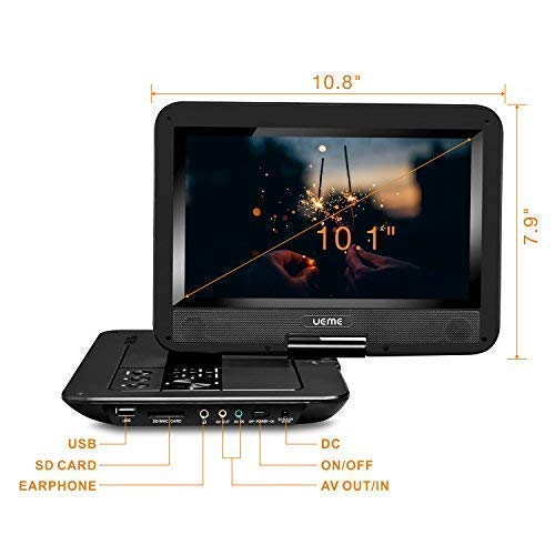 UEME Portable DVD Player with Car Headrest Mount Case, 10.1' HD Swivel Screen, Remote Control, Power Adapter, Car Charger, 5 Hours Rechargeable Battery, Support USB/SD Card and TV Sync - Black