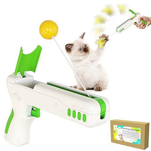 DUTISON Katzenspielzeug Interaktives Innen Katzen Haustier - Übung Federball Halten Schäker Zauberstab für Kätzchen Hündchen Kaubiss Jagen IQ Training