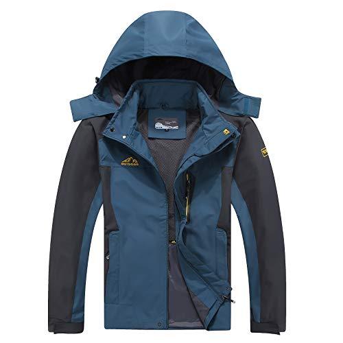 Kolongvangie Outdoor Men Jacket Waterproof Raincoat Hooded Autumn Black Blue Army Green Denim Blue Outerwear