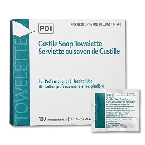 PDI D41900 Castile Soap Towelette 7.7'x5' Individually Wrapped 100/bx Sold Per Box
