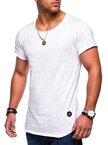 Rello & Reese Herren Oversize T-Shirt Crew Rundhals MT-7103 [Weiß, XL]
