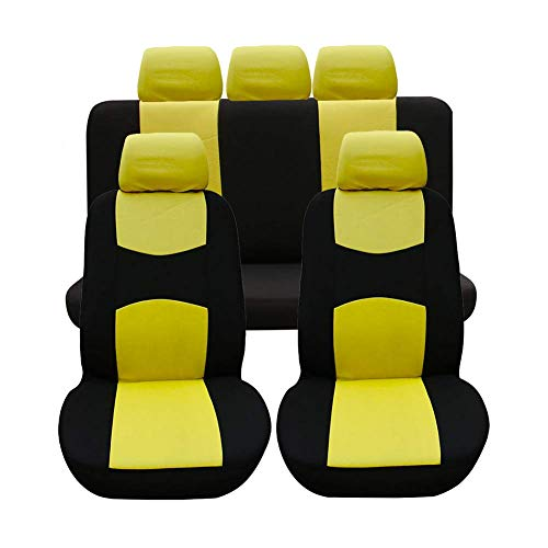 Autositzbezüge, Komplettset Vordersitze und Rücksitze Universal, Autoinnenausstattung Auto-Schonbezüge Gelb 9 Stück