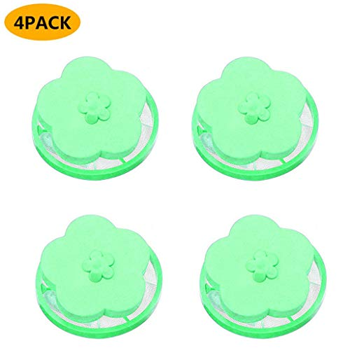 4Pc Reusable Washing Machine Hair Removal Laundry Ball Floating Filter Mesh Bag Washing Machine Lint Filter Bags Net Lint Hair Catcher Mesh Pouch Laundry Filter Bag