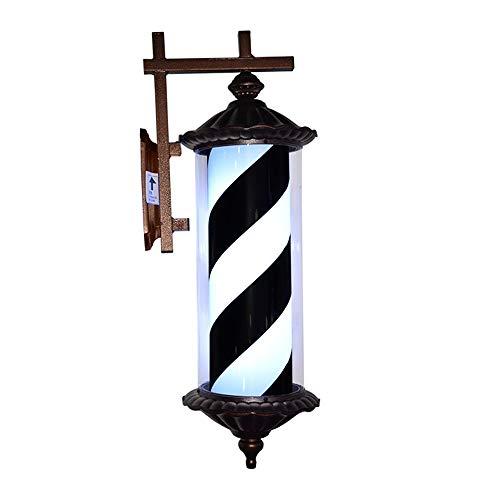 Poste De Barbero Rotación E Iiluminación Material De Tubo De PC Impermeable Al Aire Libre Luces LED 76Cm Rojo Blanco Y Azul Rayas,Black