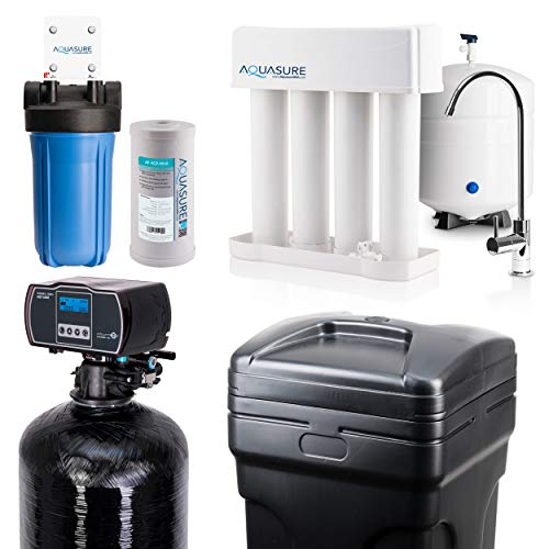 Aquasure Whole House Water Filtration Bundle w/Fine Mesh Resin Water Softener, 75 GPD RO System & Dual Purpose Sediment/GAC Pre-Filter (48,000 Grains)
