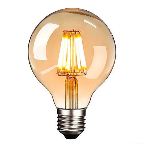 LED Edison Glühbirne E27, NUODIFAN Retro Glühbirne 8W Dimmbar Vintage Stil LED Filament Birne Lampe Amber Glas (500 Lumens, 2700K) Ideal für Dekorative Beleuchtung mit Antike Nostalgie Stil