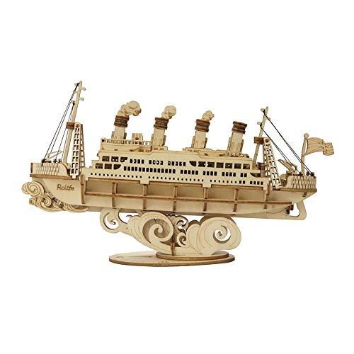 Rosh Barco pasajeros Rompecabezas Guerra Coche 3D Puzzle Model Kits Autoensamblaje Madera Construcción mecánica Artesanía para niños, Adolescentes y Adultos