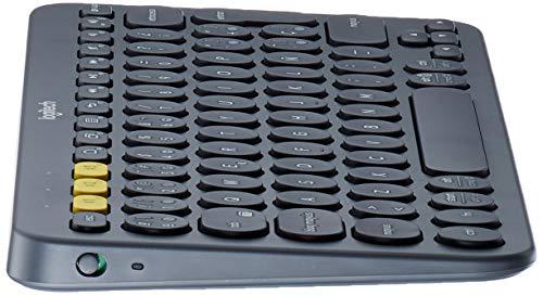 Logitech K380 Kabellose Bluetooth-Tastatur, Multi-Device & Easy-Switch Feature, Windows- und Apple-Shortcuts, PC/Mac/Tablet/Handy/Apple iOS+TV, Spanisches QWERTY-Layout - schwarz