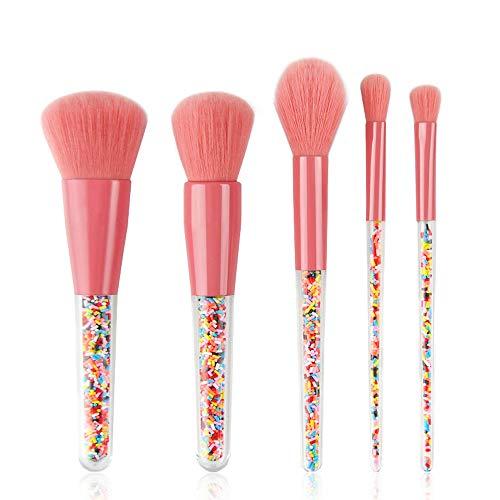 WasonD 5 Stück Süß Süßigkeiten Pinsel Kosmetik mit Papier-box, Erwachsene Kinder Anfänger Schmink Make-up Pinselset für Puder Flüssiger Cremiger Gesicht Augen Nase Lippen Bürsten - Rosa
