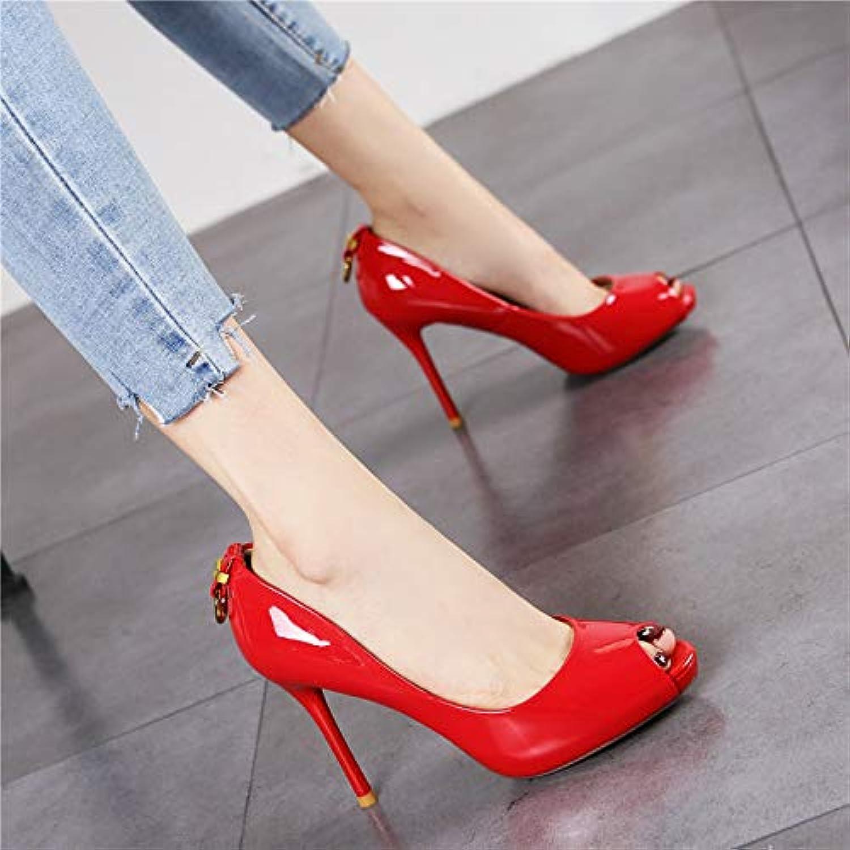HRCxue Pumps Mode Fisch Mund wasserdicht Plattform Stiletto High Heel Damen Lackleder gelb flachen Mund war dünn einzelne Schuhe weiblich
