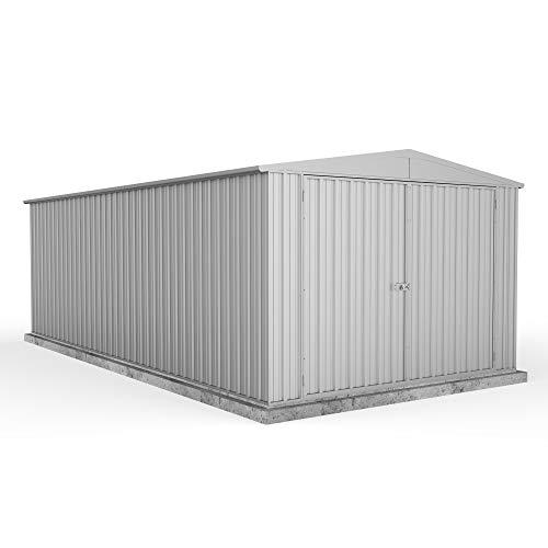 Waltons Metal Garden Shed 9ft 10in x 19ft 8in Outdoor Storage Utility Workshop Apex Absco - Titanium