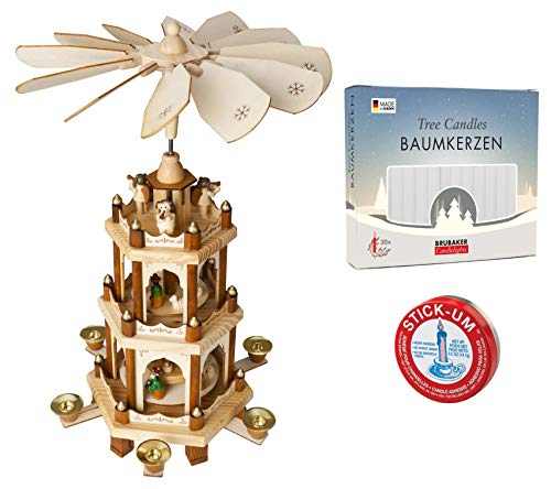 Set of BRUBAKER Christmas Pyramid 3-Tier 18 Inches + 20 White Candles + Stick-Um Candle Adhesive