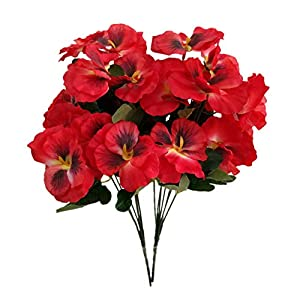 """Silk Flower Arrangements Mynse 2 Pieces 14.1"""" Silk Pansy Artificial Pansy Flowers for Home Indoor Garden Decoration (Red)"""