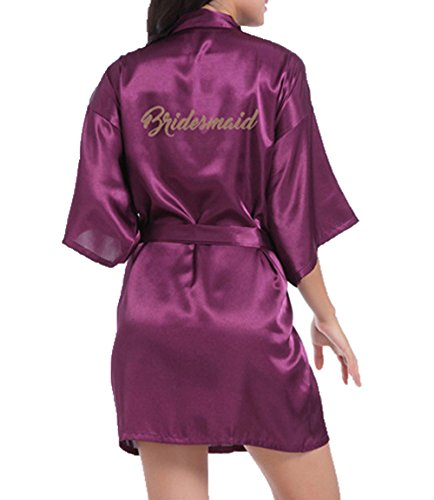 WPFING - Bata corta de raso para novias y damas de honor, bata para despedida de soltera personalizable con lema en purpurina Dama de honor Púrpura L