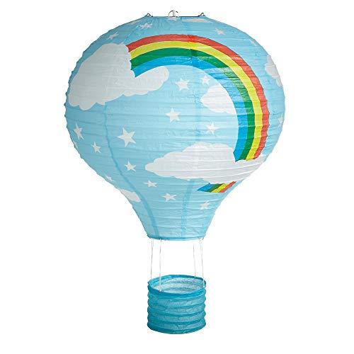 Lighting Web - Lámpara (40,6cm, papel), diseño de globo aerostático con nubes y arco iris, color azul
