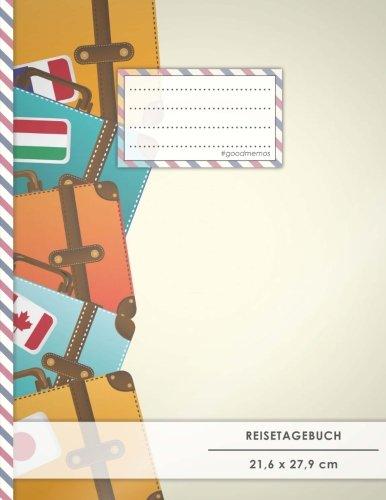 """Reistetagebuch: DIN A4, """"Bunte Koffer"""", 70+ Seiten, Soft Cover, Register, Reisecheckliste • Original #GoodMemos Travel Journal • Reisenotizbuch zum..."""