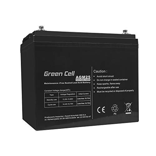 Green Cell Recambio de Batería Gel AGM 12V 75Ah Rechargeable Pila Sellada de Plomo ácido batería sin Mantenimiento Batería de Reemplazo para Autocaravanas Barcos Camper Fotovoltaica ✅
