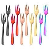 Bisda Forchettine da dolce colorate Forchette da dessert 10 pezzi 5 colori acciaio inox 18...