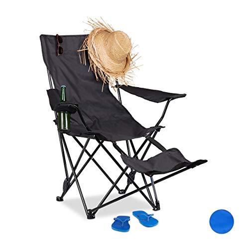 Relaxdays Campingstuhl mit Fußablage, faltbarer Anglerstuhl mit Getränkehalter & Armlehnen, Tragetasche, 120kg, schwarz