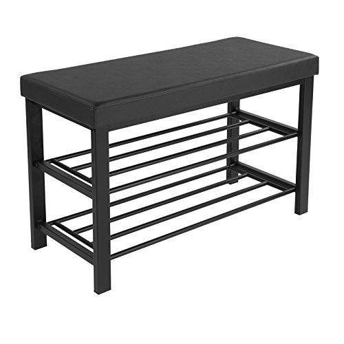 SONGMICS Shoe Bench, 3-Tier Shoe Rack for Entryway, Storage Organizer with Foam Padded Seat, Faux Leather, Metal Frame, for Living Room, Hallway, 31.9 x 12.2 x 19.3 Inches, Black ULBS58H