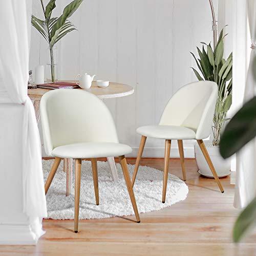 FURNISH1 – Juego de 2 sillas de comedor de estilo escandinavo con revestimiento de piel sintética negro, pie de metal imitación de madera