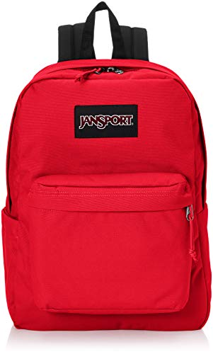 JanSport Superbreak Plus Backpack - School, Work, Travel, or Laptop Bookbag with Water Bottle Pocket, Red Tape