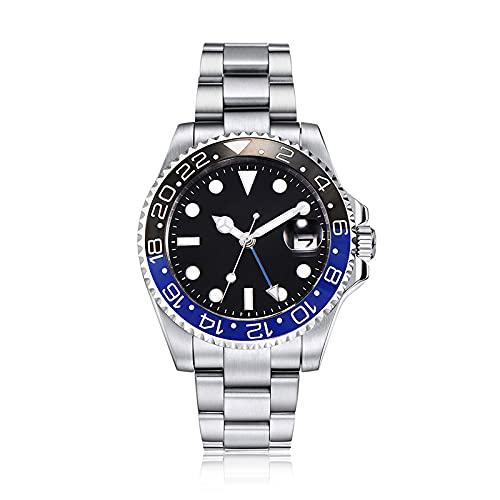 PARNIS by Collectors Club TW1002 GMT Automatikuhr 316L-Edelstahl Armbanduhr mit zweiter Zeitzone GMT Saphirglas 5BAR Wasserdicht