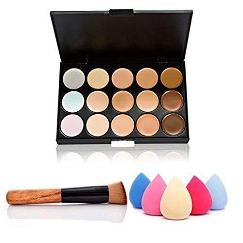 Naisicatar 15 Farben Make-up Concealer Palette Creme Contour Kit Blemish Gesicht Contouring Highlighter-Palette mit Pinsel und Schwamm Schöne Werkzeuge