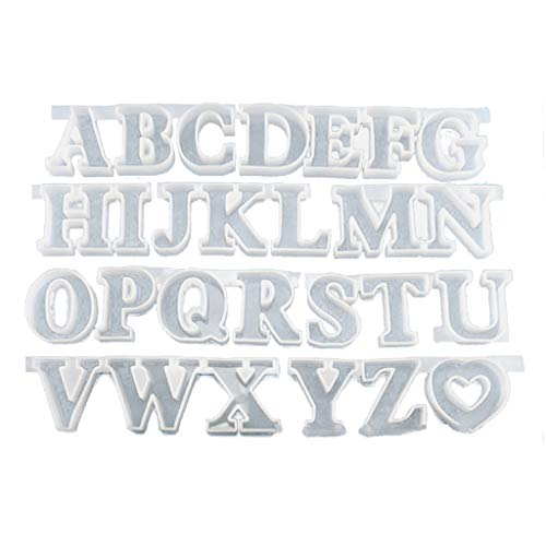 Joocyee 26 Capital English Letter Resin Mold Alphabet Keychain Pendant Resin Mold Kit,English Alphabet Glue Mould,Clear