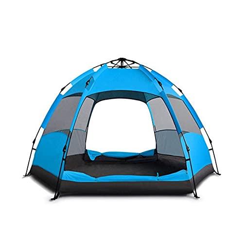 Linahealth Casa de Campaña 5-7 Personas para Acampar Impermeable Tienda de Campaña Térmica con Mosquiteros y Toldo Adicional para Lluvia Ligera (Azul)