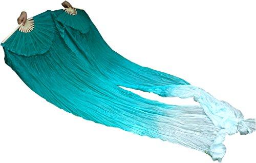 Winged Sirenny 18 Colors Adult 94″ (240cm) Belly Dance Worship Praise Silk Fan Veil Flag Streamer (Peacock Green Fading)