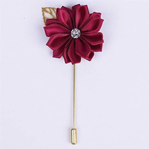 Metalen gouden blad bruidegom corsages zijde satijn roos bloem broche bruidegom mannen bruiloft accessoires prom man pak corsage pin XH889Z, paars rood, 4cm bij 10cm