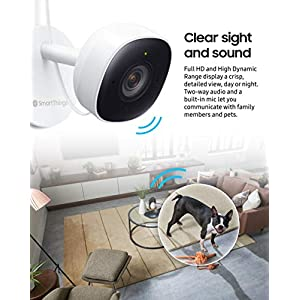 Samsung SmartThings Indoor Security Camera (GP-U999COVLBDA), 1080P HD Video with HDR, Night Vision, Advanced Motion Detection, and Two-Way Audio – Black/White