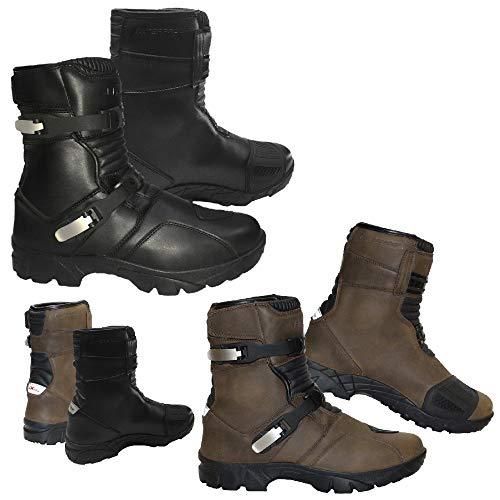 Profirst Global, Stivali da Moto da Turismo, Impermeabili, in Pelle, con Protezione alla Caviglia, per Fuoristrada, Colore Nero e Marrone