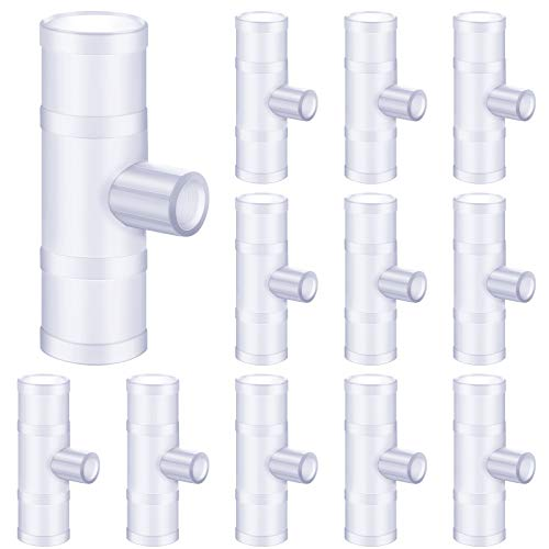 Gandeer 12 Pieces Chicken Water PVC Tee Fitting Poultry Nipple Horizontal for Threaded Chicken Waterer Duck Quail Auto-Fill Water Cups Rabbit Nipple with 1/8 inch MPT Threads
