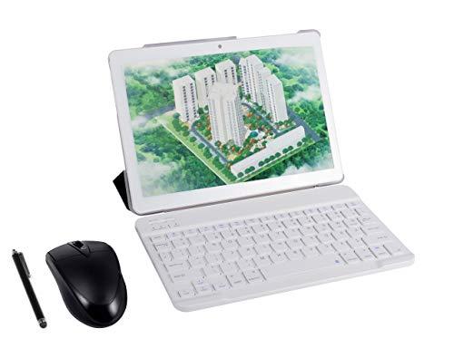 Android 9.0 3G Tablet 4GB + 64GB Android Tablet con Pantalla HD IPS de 10,0', 2 ranuras para tarjetas SIM, Quad Core, 1.3GHz, Bluetooth, WIFI, GPS, Cámara Dual, Blanco