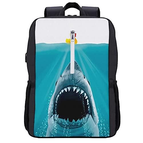 Alvaradod Zaino da viaggio per laptop,Save Ducky Rubber Shark Animal Print,Borsa per computer antifurto da lavoro sottile e resistente con porta di ricarica USB