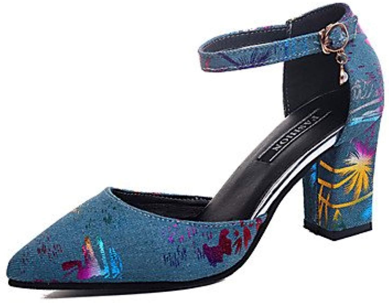 LvYuan-ggx Da donna Seali Finta pelle Estate Footing Fibbia Heel di blocco Nero Blu scuro 5-7 cm, nero, us6   eu36   uk4   cn36