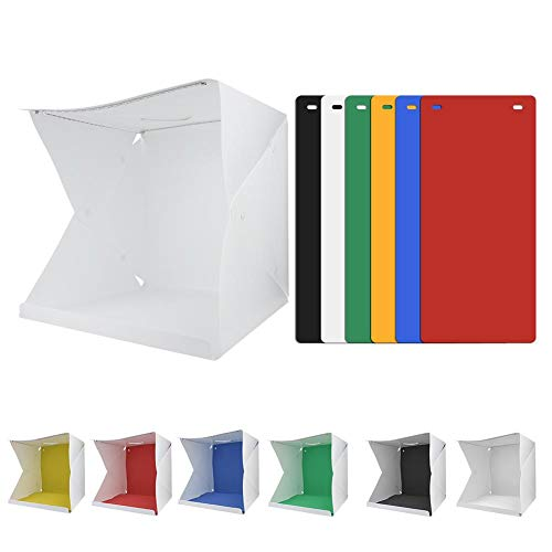 Topiky Mini Studio Box Draagbare 40 * 40cm Opvouwbare instelbare Dual 70 stuks LED licht Camera Camcorder Foto Light Box Tent Fotografie Kit met 6 kleuren achtergrond