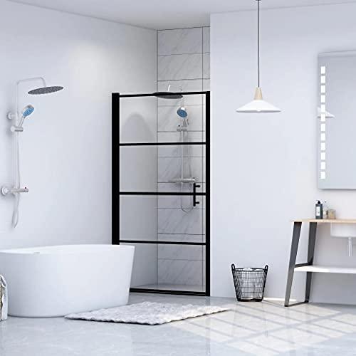 vidaXL Shower Door Tempered Glass Shower Enclosure Panel Hardware Bathtubs Cabin Screen Cubicle Bathroom Bath Attachment Home Bathing Black