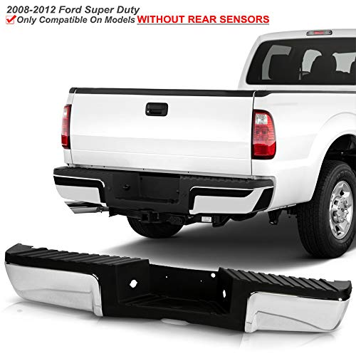ACANII - For 2008-2012 Ford F250 F350 SuperDuty Pickup Chrome Steel w/o Sensor Holes Complete Rear Step Bumper Assembly