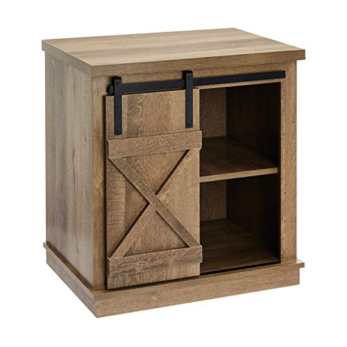 ROCKPOINT Storage Cabinet End Table with Sliding Barn Door,Dark Oak