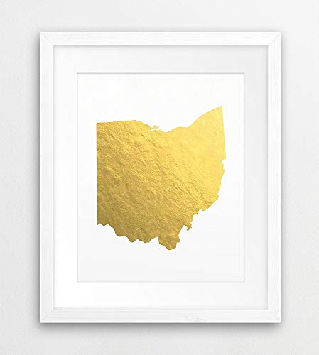 Ohio State Map Print USA State Ohio Silhouette Gold Foil Texture Modern Wall Art Home Office Decor Printable Art Instant Downloaden Kunst