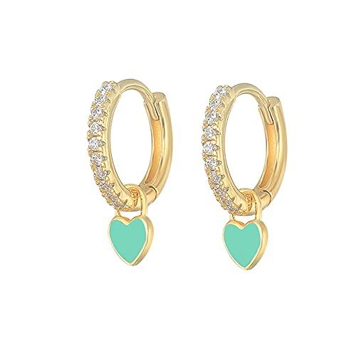 XAOQW Pendientes de aro de plata de ley 925 con lindo caramelo de neón esmalte corazón encanto pendiente oro plata color para niñas oro verde claro