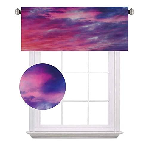 Sky Half - Cortinas de ventana (100 x 30 cm), color rosa