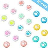 20 Pieces Cute Cat Claw Design Thumb Grip Caps Replacement Paw Thumb Grips Analog Stick Cover Joystick Cap Soft Silicone Cover Compatible with PS4 PS3 PS2 Xbox 360 Xbox One Controllers