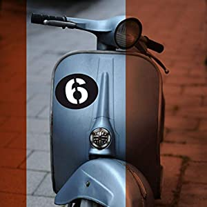 Aufkleber/Sticker Startnummer Zahl für Vespa Lambretta Roller z.B. Sei Giorni matt schwarz retro, Wunschzahl -größe